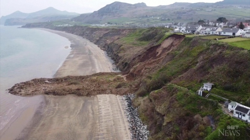 Woman narrowly escapes landslide in UK