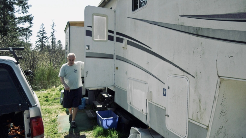 Patrick Kauwell is pictured by his RV: April 20, 2021 (CTV News)