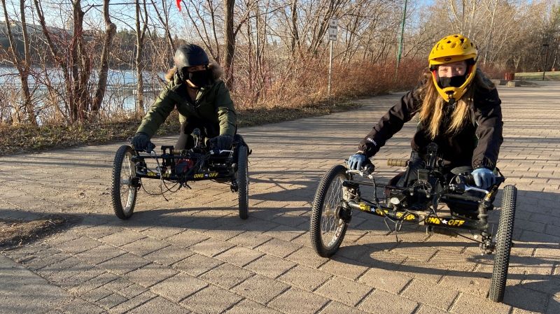 Lisa Franks, right, has created Saskatchewan's first adaptive mountain bike club. (Janella Hamilton/CTV Saskatoon)