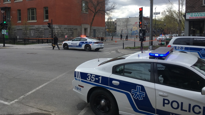 Montreal police responded to 911 calls reporting gunshots in the Rosemont-La Petite-Patrie borough on Tues., April 20, 2021. (Photo: CTV Montreal/Selena Ross)