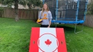Mikayla McFarlane received a $3000 grant in 2020 to make and sell these volleyball backboards online through the Summer Company program. (Kimberley Johnson / CTV News Ottawa)