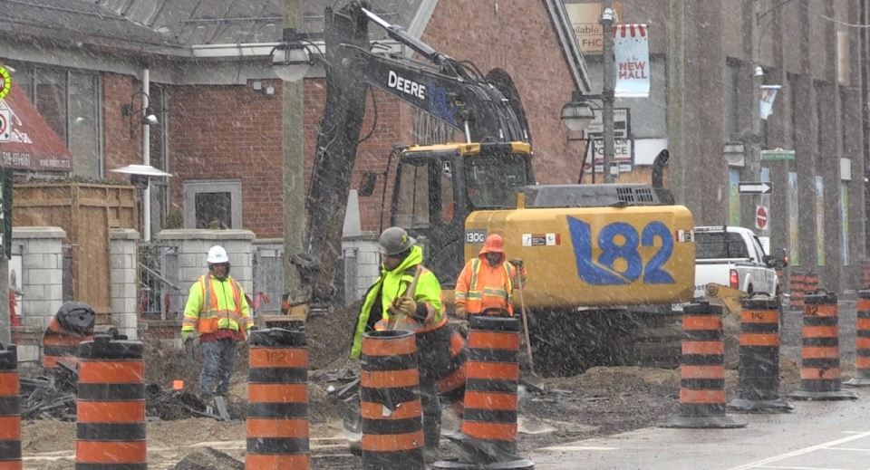 Roadwork is underway on King Street in downtown London, Ont., Tuesday, April 20, 2021. (Jordyn Read / CTV News)