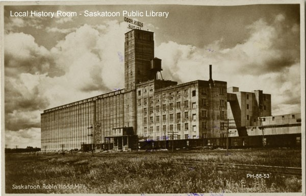 The Robin Hood sign was installed in 1927. (Saskatoon Local History Room, Saskatoon Public Library)