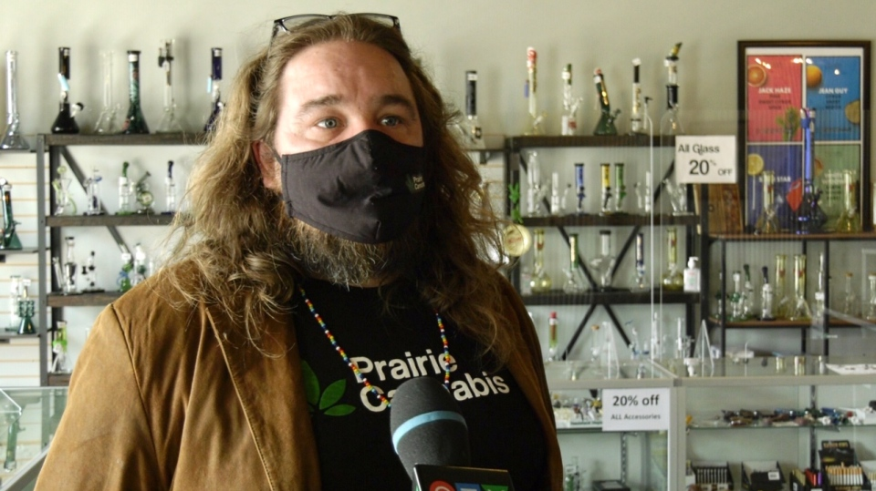 Prairie Cannabis regional manager jef Roy says he'd like to see cannabis use less stigmatized as more and more people light up with the legalization of recreational use. (Jayda Taylor/CTV Prince Albert)