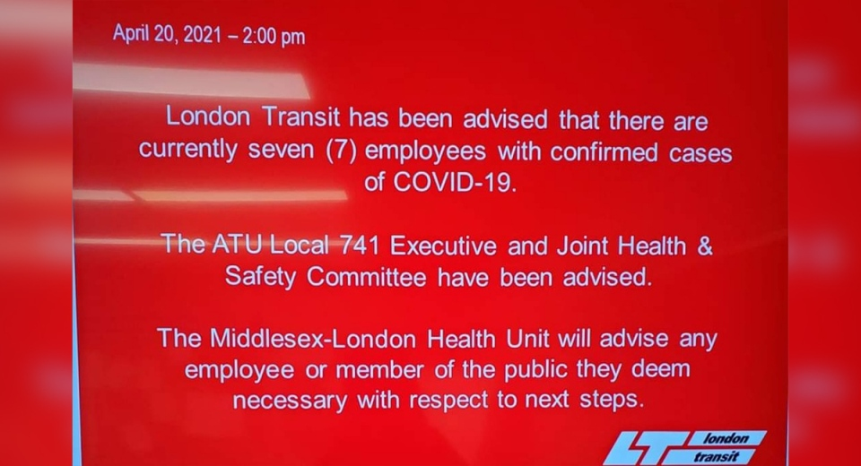 A London Transit Commission notice indicates seven employees have tested positive for COVID-19.