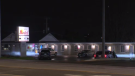 Officers could be seen stationed in front of the Victoria Motel, as well as the neighbouring Mayflower Motel on Tuesday night.