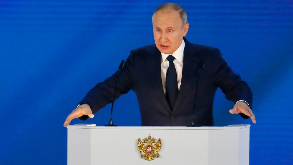 Russian President Vladimir Putin gives his annual state of the nation address in Manezh, Moscow, Russia, on April 21, 2021. (Alexander Zemlianichenko / AP)