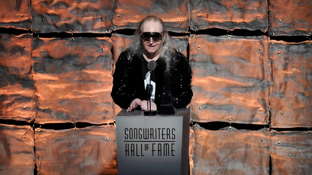 "Inductee Jim Steinman speaks at the 2012 Songwriters Hall of Fame induction and awards gala in New York on June 14, 2012. Steinman, the Grammy-winning composer and playwright who wrote Meat Loaf's best-selling ""Bat Out Of Hell"" debut album as well as hits for Celine Dion, Air Supply and Bonnie Tyler, has died, at 73. Bill Steinman told The Associated Press that his brother died Monday from kidney failure and was ill for some time. (Photo by Evan Agostini/Invision, File)"
