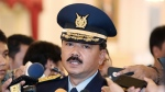 FILE - In this Jan. 18, 2017, file photo, Indonesia's then Air Force Chief of Staff Air Marshall Hadi Tjahjanto talks to journalists after his swearing-in ceremony at the presidential palace in Jakarta, Indonesia. Indonesia's military says a navy submarine is missing near the resort island of Bali with 53 people on board. (AP Photo/Achmad Ibrahim, File)