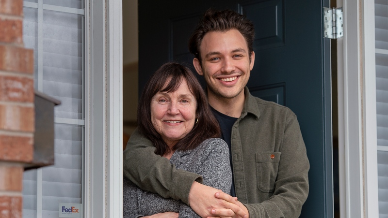 "Ben Proudfoot stands with his mother, Madine VanderPlaat, at the family residence in Halifax on Monday, March 15, 2021. Proudfoot has earned an Oscar nomination for co-directing the documentary short ""A Concerto is a Conversation"" with American composer Kris Bowers. THE CANADIAN PRESS/Andrew Vaughan"