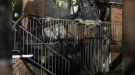 Charred remains of Hanmer townhouse after fire. April 21/21 (Jesse Oshell)
