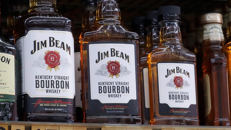 FILE - In this July 9, 2018, file photo, Bottles, Jim Beam are displayed at Rossi's Deli in San Francisco.(AP Photo/Jeff Chiu, File)