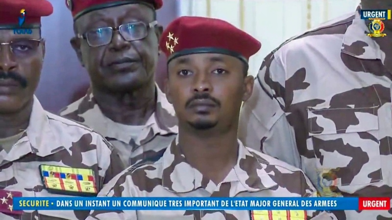 Mahamat Idriss Deby Itno, 37, the son of Chadian President Idriss Deby Itno, is seen during a military broadcast announcing the death of his father on state television, on April 20, 2021.  (Tele Tchad via AP)