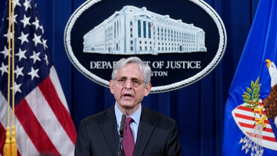 U.S. Attorney General Merrick Garland speaks about a jury's verdict in the case against former Minneapolis Police Officer Derek Chauvin in the death of George Floyd, at the Department of Justice in Washington, on April 21, 2021. (Andrew Harnik / AP)
