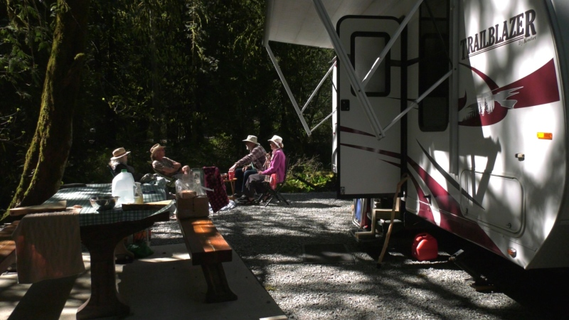 Campers in Goldstream Provincial Park on Tuesday, April 21, 2021. (CTV News)