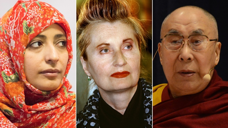 Tawakkol Karman, Elfriede Jelinek and Dalai Lama are among the signatories of a letter urging concrete steps to phase out fossil fuels in order to prevent catastrophic climate change. (Getty Images via CNN)
