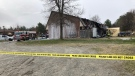 Crews at scene of townhouse fire in Hanmer. April 21/21 (Alana Everson/CTV Northern Ontario)