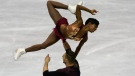 France's Vanessa James and Morgan Cipres perform their pairs short program during the ISU World Team Trophy Figure Skating competition in Fukuoka, southwestern Japan, in this Friday, April 12, 2019, file photo. Two-time Olympian Vanessa James of France will be performing at Figure Skating in Harlem's 2021 Champions in Life Virtual Gala on Thursday, April 22, 2021. (AP Photo/Toru Hanai, File)