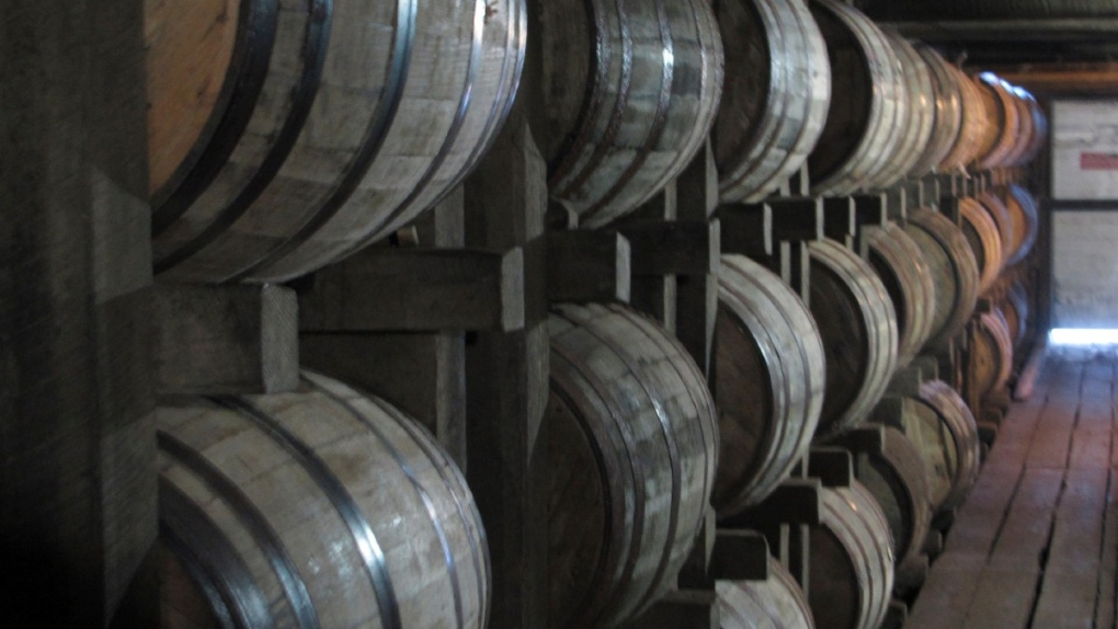Bourbon barrels at the Jim Beam distillery