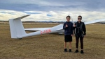 Kaleb and Josh Bagrowicz, both 14, recently completed their first solo glider flights with the help of their team at the Alberta-based Cu Nim Gliding Club. (Supplied)