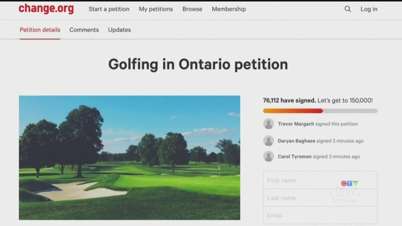 Golfers launch petition to reopen courses