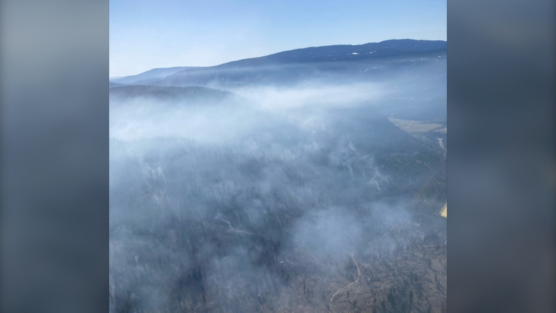 A photo from the BC Wildfire Service shows the Petit Creek wildfire in April 2021.