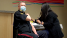 SPS Chief Troy Cooper gets his COVID-19 vaccine at the STC clinic on April 21, 2021. (Laura Woodward/CTV Saskatoon)