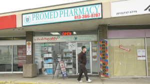 At the Promed Pharmacy on Alta Vista Drive, the stock of COVID-19 vaccines that arrived Friday was used up by Tuesday night. (Jackie Perez / CTV News Ottawa)