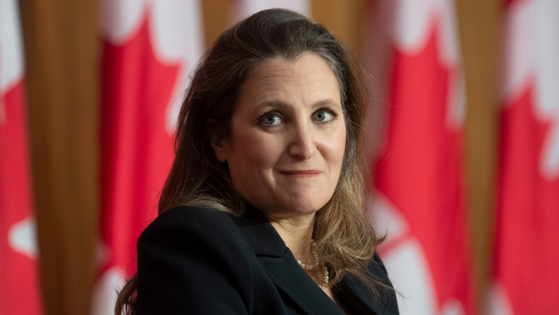 Minister of Finance Chrystia Freeland waits for the first question from reporters on the telephone during a news conference in Ottawa, Monday April 19, 2021. THE CANADIAN PRESS/Adrian Wyld