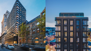 The new condo building on Ste. Catherine St. in Montreal will replace an over-hundred-year-old heritage building. SOURCE: Brivia Group