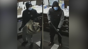 Police are looking for two men in connection to an armed robbery at a southwest Edmonton pharmacy. (Source: EPS)