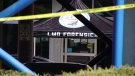 The scene of a shooting in Langley, B.C., is pictured on Wednesday, April 21, 2021. (Shane MacKichan for CTV News)