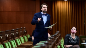Bloc Quebecois member of Parliament Sebastien Lemire rises during question period in the House of Commons on Parliament Hill in Ottawa on Friday, March 12, 2021. THE CANADIAN PRESS/Sean Kilpatrick