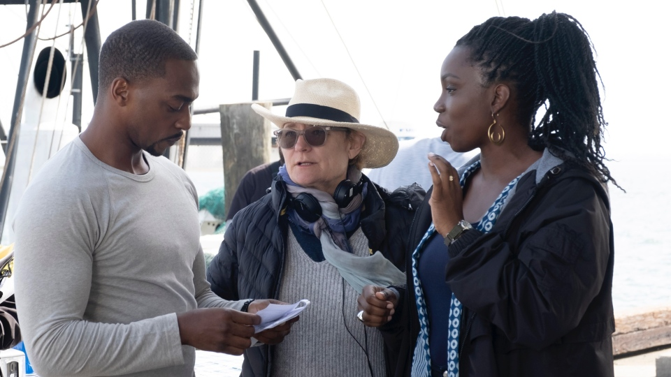 Ottawa-born director Kari Skogland (centre) with Sam Wilson and Sarah Wilson on the set of Marvel Studios 'The Falcon and the Winter Solder'. (Photo courtesy: Marvel Studios 2021)