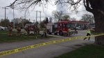 Apartment fire on King Edward Avenue in London, Ont. on Wednesday, April 21, 2021. (Marek Sutherland/CTV London)