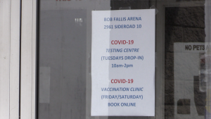 The Bob Fallis arena hosts COVID-19 vaccine clinics in Bradford West Gwillimbury, Ont. on Wed. April. 21, 2021 (Mike Arsalides/CTV News)