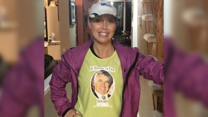 Diana Devine wearing a shirt with a photo of her late father who died in a workplace accident. (Supplied by Diana Devine)
