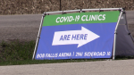 The Bob Fallis arena in Bradford West Gwillimbury, Ont. hosts COVID-19 Vaccination clinics on Wed. April 21, 2021 (Mike Arsalides/CTV News)