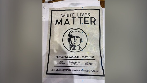 A poster promoting a White Lives Matter parade found in New Hamburg (Twitter: Cheryl4Ward2)