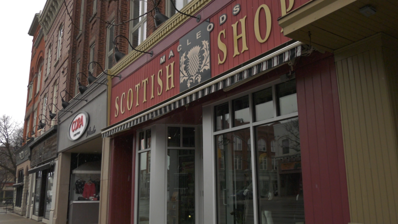 Macleods Scottish Shop in downtown Stratford as seen on Wednesday, April 21, 2021. (Ricardo Veneza/CTV News)