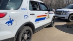 Two RCMP vehicles in Redwater, Alta. (CTV News Edmonton)