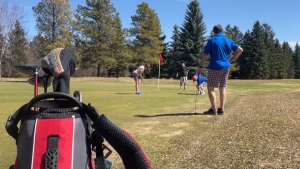 Golfers on Victoria Golf Course in Edmonton. April 21, 2021. (CTV News Edmonton)