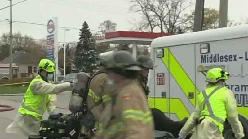 Heavy smoke as fire crews fight apartment blaze
