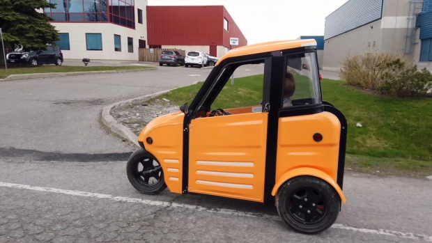 """Frank Stronach, founder of the international automotive parts company Magna International, is in the process of developing the """"Sarit,"""" an electric single-seat vehicle with three wheels that's small enough to take advantage of city bike lanes."""