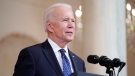 U.S. President Joe Biden speaks Tuesday, April 20, 2021, at the White House in Washington, after former Minneapolis police Officer Derek Chauvin was convicted of murder and manslaughter in the death of George Floyd. (AP Photo/Evan Vucci)