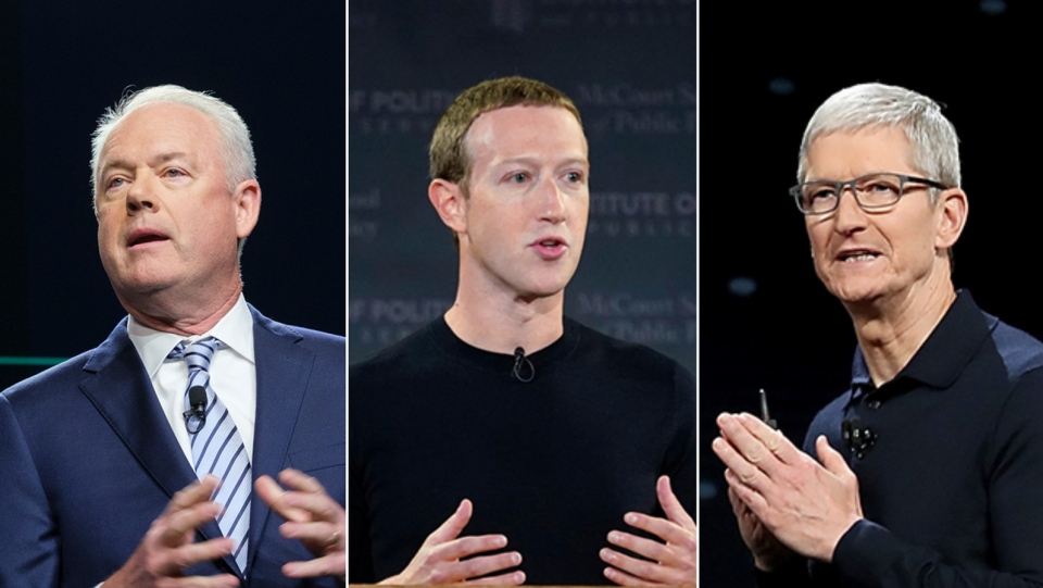 From left to right: Starbucks CEO Kevin Johnson, Facebook CEO Mark Zuckerberg and Apple CEO Tim Cook all issued statements on April 20 reacting to former Minneapolis Police officer Derek Chauvin being found guilty in the murder of George Floyd. (Stephen Brashear/Riccardo Savi/Justin Sullivan/Getty Images)