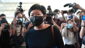 Hong Kong journalist Choy Yuk-ling, also known as Bao Choy, arrives a court in Hong Kong Thursday, April 22, 2021. (AP Photo/Kin Cheung)