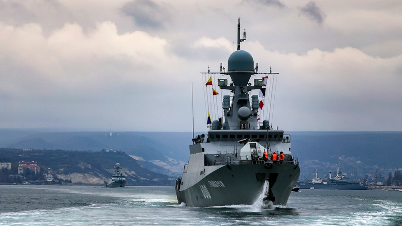This handout photo released on Wednesday, April 14, 2021 by Russian Defense Ministry Press Service shows, Russian navy ships are seen during navy drills in the Black Sea. (Russian Defense Ministry Press Service via AP)