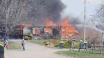 A three-storey farmhouse in Nova Scotia's Kings County was destroyed by a fire on Wednesday afternoon. (Photo courtesy Bill Roberts)
