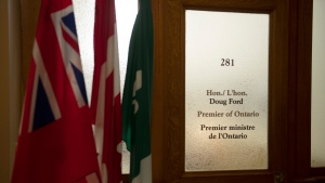 The closed door to the office of Ontario Premier Doug Ford is seen at the Ontario Legislature, in Toronto, Tuesday, April 20, 2021. THE CANADIAN PRESS/Frank Gunn
